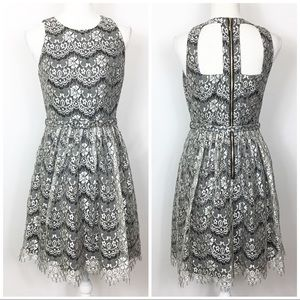 Eliza J Metallic Lace Cut Back Fit Flare Dress